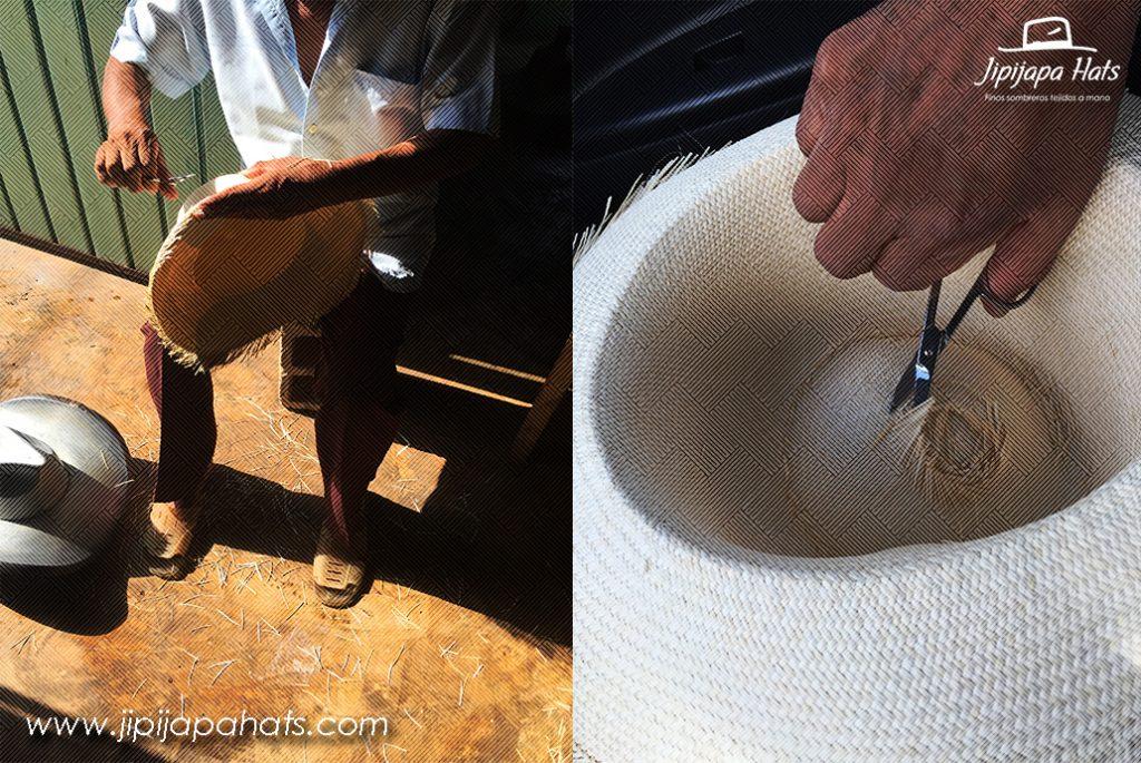 Despuntando hilos excedentes del sombrero