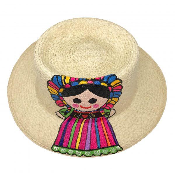 Sombrero redondo de muñequita pintada a mano